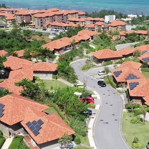 Aerial of houses with solar panels